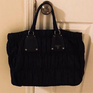 f29a41e9aade ... get prada bags prada tessuto gaufre black nylon tote bag ruched 5e5b7  ed2fc